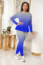 Gradient Long Sleeve Two Piece Pants Set XMEF-X1064