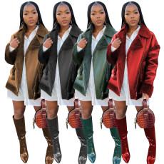 Winter Warm Lapel Leather Fur Jacket MOF-6656
