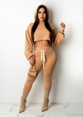 Solid Hooded Lace Up Casual Two Piece Pants Set SFY-2143
