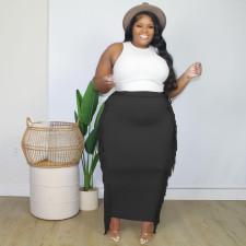 Plus Size Solid Tassel Long Skirt MTY-6538-1