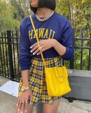 Letter Long Sleeve Top+Pleated Mini Skirt 2 Piece Sets LSD-81044