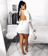 White Backless Mesh Sleeve Mini Dress LSD-81052