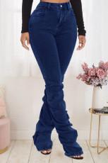 Denim Mid-Waist Pile Jeans Pants LX-3518