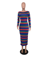 Casual Striped Long Sleeve Maxi Dress DFNA-5236