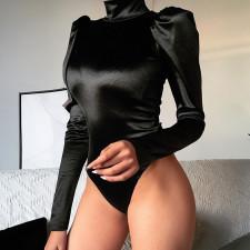 Sexy Black Back Zip Long Sleeve Slim Bodysuit FL-92469