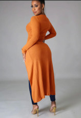 Solid Ribbed Full Sleeve High Low Irregular Long Coat ME-W970