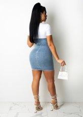 Casual Denim Patchwork Short Sleeve Mini Dress LA-3292