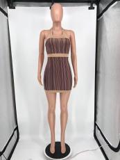 Sexy Printed Halter Backless Mini Dress HYF-SL5015