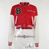 Casual Printed Patchwork PU Sleeve Baseball Jacket FL-YJ21091