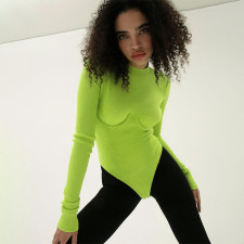 Sexy Long Sleeve O Neck Tight Bodysuit FL-SY21307