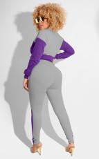 Casual Zipper Long Sleeve 2 Piece Pants Set XYMF-88085