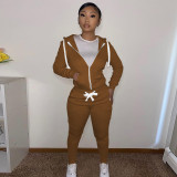 Solid Zipper Hoodie Top And Pants 2 Piece Suits CH-8195