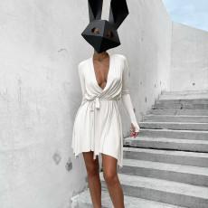 Sexy Solid Long Sleeve V Neck Sashes Mini Dress FL-SY21308