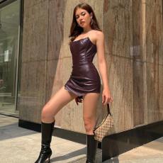 Sexy PU Leather Off Shoulder Irregular Mini Dress FL-21264