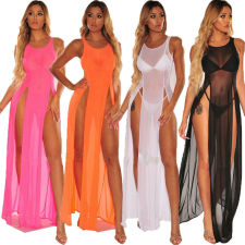 Sexy Perspective Slit Long Dress+Panties(Without Bra) YQ-W431
