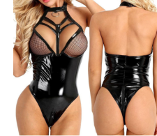 Sexy Halter One-Piece Black Patent Leather Hollow Erotic Lingerie YQ-8123