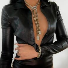 PU Leather Long Sleeve Sexy Mini Dress (Without Chain) FL-21279