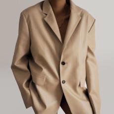 PU Leather Single-Breasted Blazer Coat FL-21410