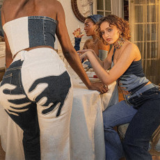 Denim Patchwork Flared Jeans Pants FL-21444