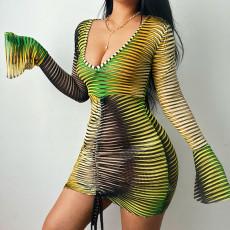 Sexy V Neck Flare Sleeve Drawstring Mini Dress FL-21328