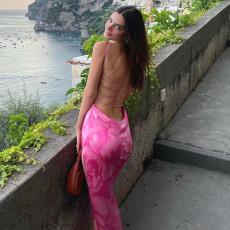 Sexy Printed Split Backless Spaghetti Strap Maxi Dress FL-21104