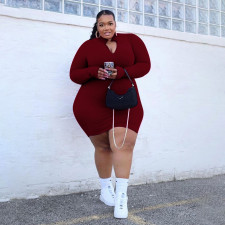 Plus Size Solid Zipper Long Sleeve Bodycon Dress PHF-13263