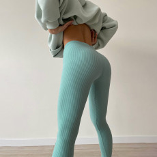 Solid Ribbed Fitness Tight Legging Pants FL-CC21118