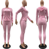 Solid Hooded Zipper Long Sleeve Two Piece Pants Set FSL-117-1