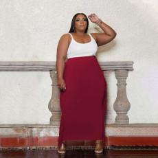 Plus Size Solid Tassel Long Skirt PHF-13262
