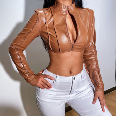 PU Leather Long Sleeve Zipper Cropped Jacket FL-21013