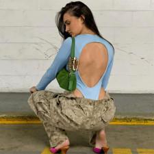 Solid Long Sleeve Backless Bodysuit FL-21017