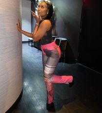 Fashion Print Hem Split Pants NYMF-K05