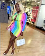 Rainbow Print Lace Up Hollow Long Sleeve Mini Dress GEYF-68514