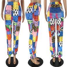 Fashion Casual Block Color Printed Pants NYMF-K03