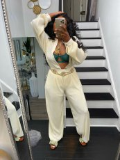 Casual Loose Blouse Top And Pants 2 Piece Suits (Without Belt)YIM-221