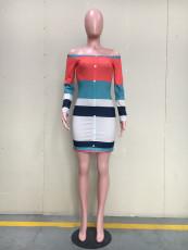 Sexy Slash Neck Long Sleeve Mini Dress ORY-5077