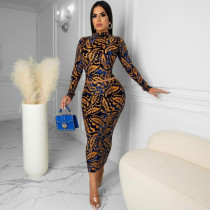 Sexy Printed Long Sleeve Top And Skirt 2 Piece Sets OM-1281