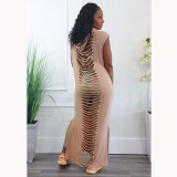 Solid Hooded Sleeveless Hollow Out Split Maxi Dress RUF-8947