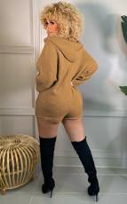 Casual Hooded Long Sleeve Zipper Romper MEM-88397