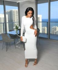 Sexy Hollow Out Long Sleeve Maxi Dress QIYF-Q1017