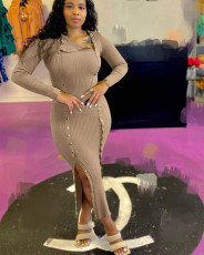 Sexy Ribbed Full Sleeve Long Dress LDS-3295