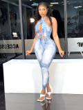 Sexy Printed Halter Lace Up Jumpsuit QIYF-Q1008