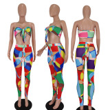 Sexy Printed Crop Top And Pants 2 Piece Sets QIYF-Q1012