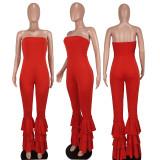 Red Off Shoulder Ruffle Leg Tube Jumpsuit QIYF-Q1018