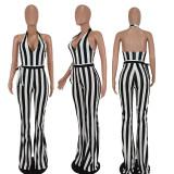 Black White Stripe V Neck Halter Sashes Jumpsuit QIYF-Q1010