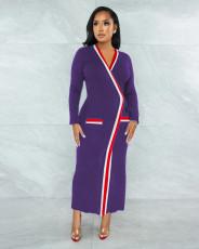 Sexy V Neck Long Sleeve Maxi Dress LS-0365