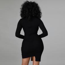 Plus Size Fashion Sexy Slim PU Leather Splice Dress CYA-9299