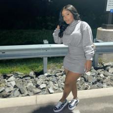 Solid Hooded High Waist Long Sleeve Mini Dress FNN-8639