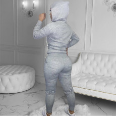 Solid Sports Zipper Hoodie And Pants 2 Piece Suits XMEF-1152