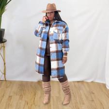 Plaid Full Sleeve Turndown Collar Long Coat MTY-6582